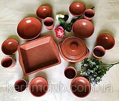Набор посуды с гранитным покрытием Керамклуб на 6 персон алого цвета