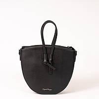 Овальна модна сумка! Жіноча чорна сумочка K54-20/4 крос боді з ручками, фото 1