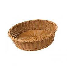 Корзина FoREST круглая коричневая d40 см h10 см, Корзина для хранения хлеба. Хлебница коричневая круглая