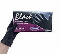 Перчатки нитрил/виниловые чёрные, 100 шт.
