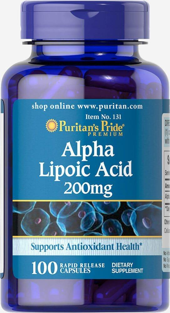 Puritan's Pride Alpha Lipoic Acid, альфа липоевая кислота 200 mg (100 капс.)