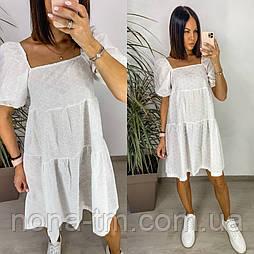 Сукня коттоновое жіноче з красивими рукавами