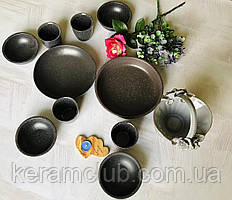 Набор посуды с гранитным покрытием Керамклуб чайный на 4 персоны серого цвета
