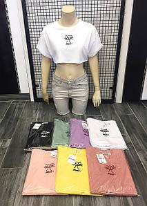 Коротка футболка - топ на спекотне літо 42-46 (в кольорах)