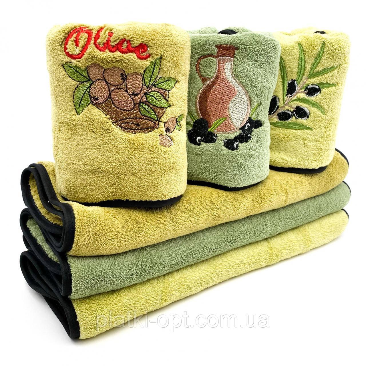Набор кухонных полотенец Оливка 3 шт. (микрофибра), 50х25 см