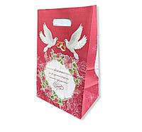 Малиновий весільний паперовий пакет на коровай торт