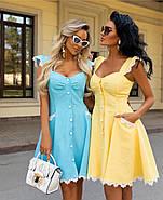 Сукня жіноча ніжна, коротка з дорогим мереживом макраме, 00923 (Блакитний), Розмір 42 (S), фото 2