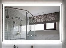 Зеркало DUSEL LED DE-M3051 100смх75см сенс. включение+подогрев+часы/темп+ увеличительная линза