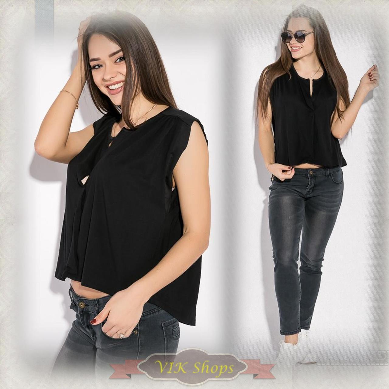 Блуза женская летняя casual асимметрия (черный, р.XS-XL)