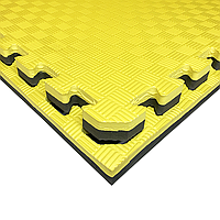 Татами IZOLON EVA SPORT 100х100х3см, жёлто-чёрный с бортиком