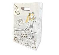 Срібло-золото весільний паперовий пакет на коровай торт