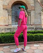 Женский костюм прогулочный (штаны и  кофта с коротким рукавом), 00937 (Малиновый), Размер 42 (S), фото 2