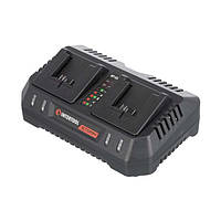 Пристрій зарядний для акумуляторів літій-іон 20 В, струм заряду 4.0+4.0 А, два теминала зарядки INTERTOOL