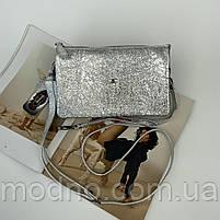 Жіноча шкіряна сумка клатч через плече на три відділення Desisan Десісан, фото 2