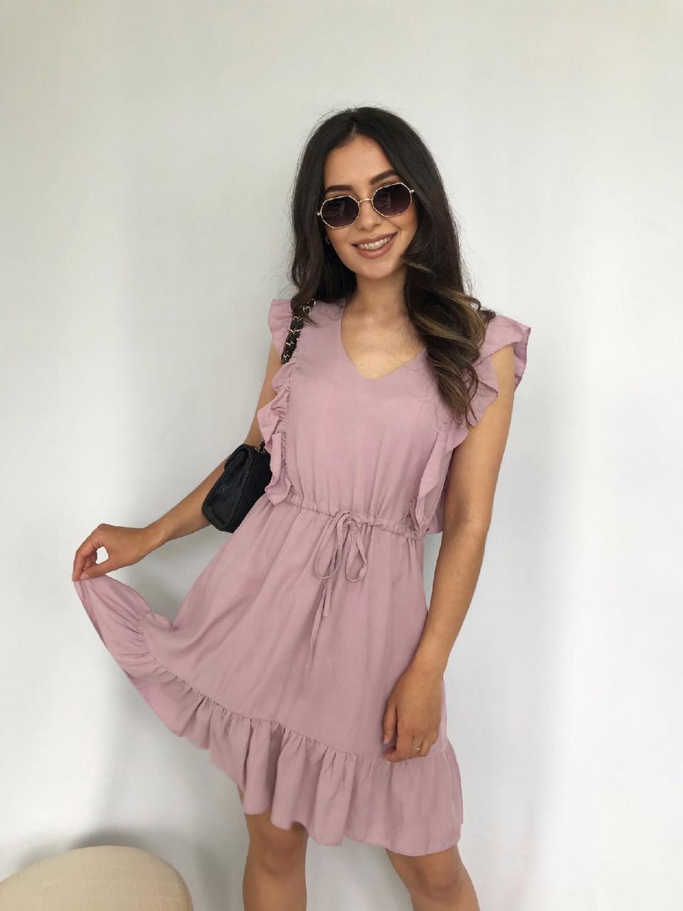 Короткое штапельное платье с рюшами, 00930 (Пудра), Размер 46 (L)