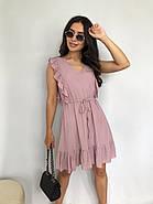 Короткое штапельное платье с рюшами, 00930 (Пудра), Размер 46 (L), фото 2