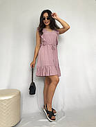 Короткое штапельное платье с рюшами, 00930 (Пудра), Размер 46 (L), фото 3