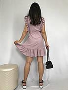 Короткое штапельное платье с рюшами, 00930 (Пудра), Размер 46 (L), фото 4