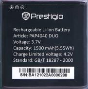 Аккумулятор для Prestigio MultiPhone 4040 DUO оригинальный, батарея PAP4040 DUO
