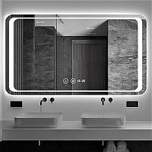 Зеркало DUSEL LED DE-M3031 100смх75см cенс.включение+подогрев+часы/темп