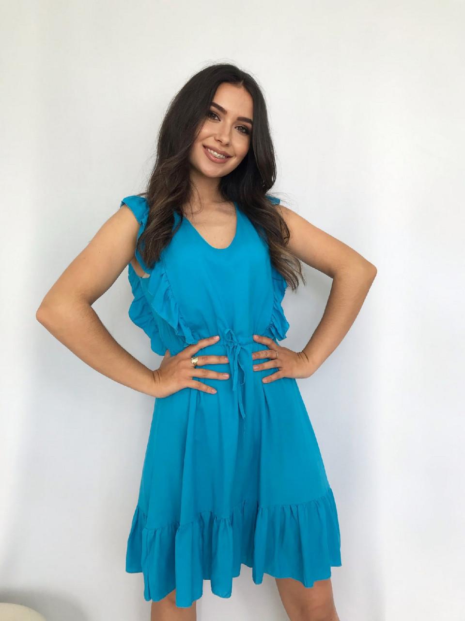 Плаття літнє жіноче без рукавів, з регульованим на талії поясом, 00932 (Блакитний), Розмір 42 (S)