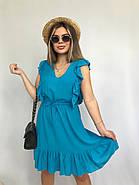Плаття літнє жіноче без рукавів, з регульованим на талії поясом, 00932 (Блакитний), Розмір 42 (S), фото 5