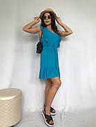 Плаття літнє жіноче без рукавів, з регульованим на талії поясом, 00932 (Блакитний), Розмір 42 (S), фото 6