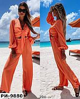 Женский стильный брючный костюм с топом и брюками на высокой талии