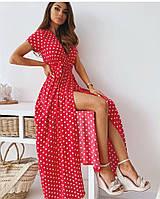 Платье на запах в горох красное