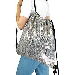 Рюкзак мешок на затяжках из текстиля для сменной обуви Леопард серебристый