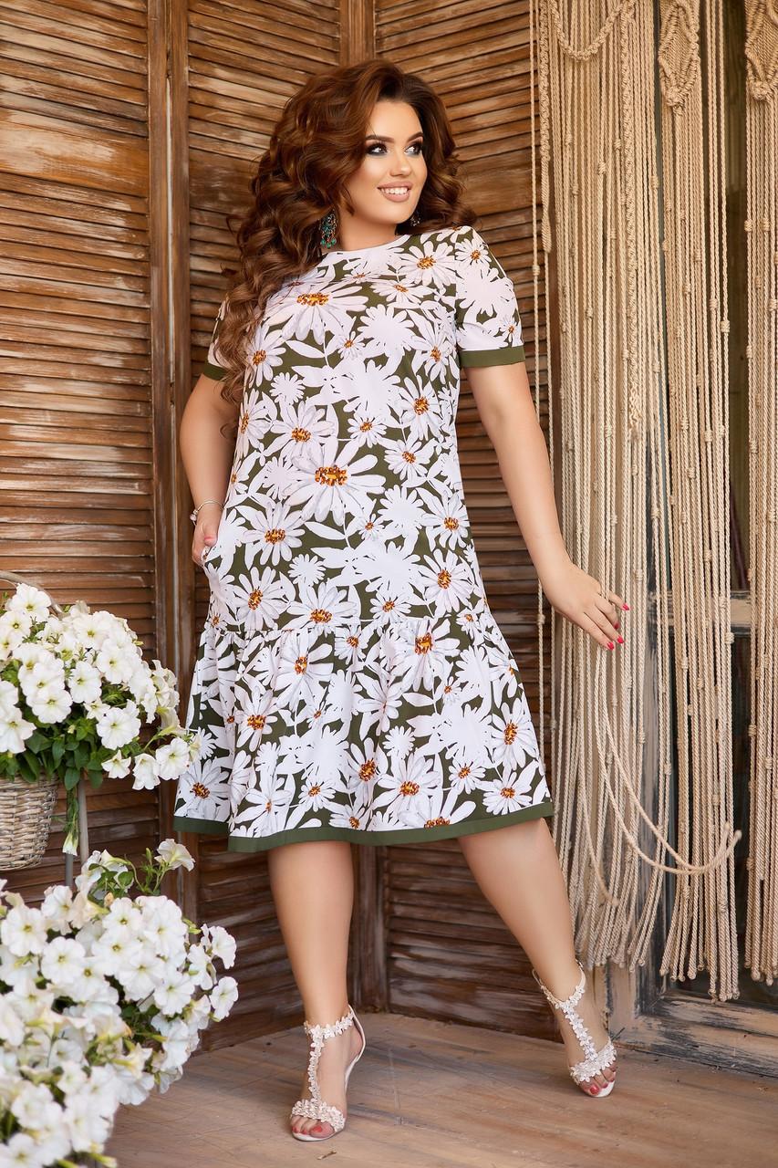 Літнє плаття А-силуету з ромашками великих розмірів