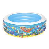Надувний басейн для дітей з трьома кільцями Bestway 51122 (розмір 196*53 см), (об'єм 700 л) колір синій, фото 2