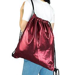 Рюкзак мешок на шнурках из текстиля для сменной обуви бордовый