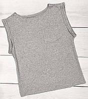Сіра однотонна футболка з укороченим рукавом жіноча.