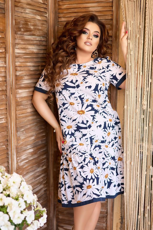 Летнее платье А-силуета с ромашками больших размеров