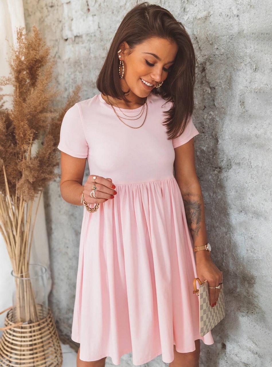 Женское короткое платье свободного кроя с турецкого трикотажа, 00942 (Розовый), Размер 42 (S)