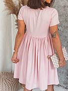 Женское короткое платье свободного кроя с турецкого трикотажа, 00942 (Розовый), Размер 42 (S), фото 2
