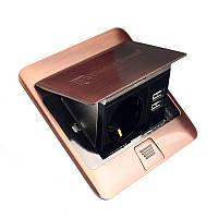 Розетка напольная врезная с заземлением 16 А + 2 USB выхода 2,1 А IP44
