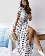 Платье на запах в горох белое