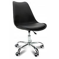 Удобное кресло для офиса из качественной экокожи стул с металлической опорой с прорезиненными колесами черный