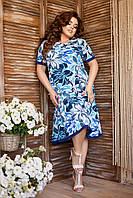 Яркое синее батальное платье А-силуета с цветочным принтом, фото 1