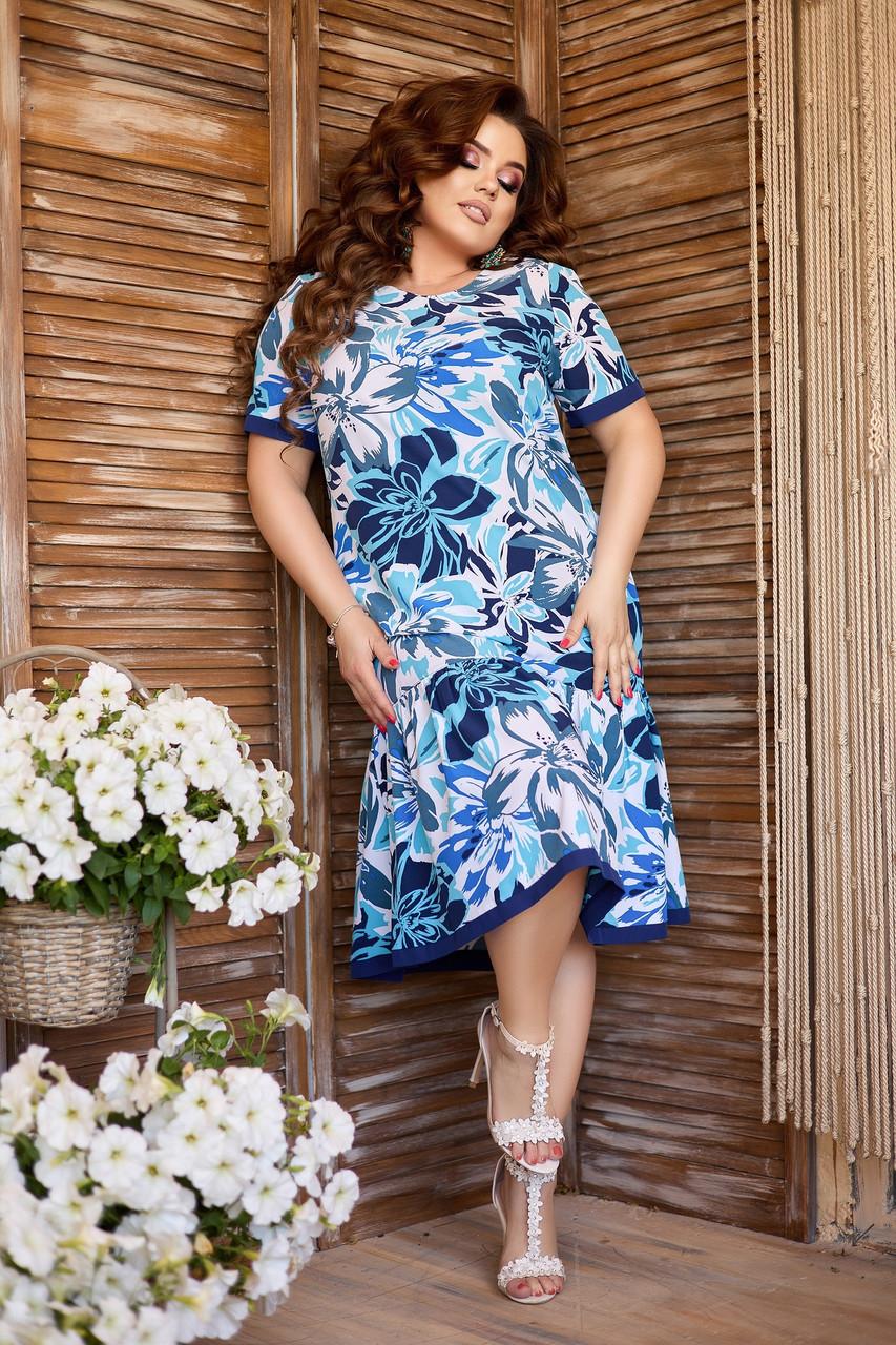 Яскраве синє батальне плаття А-силуету з квітковим принтом