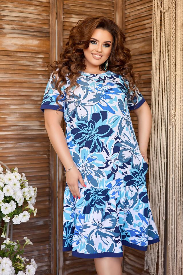 Яркое синее батальное платье А-силуета с цветочным принтом