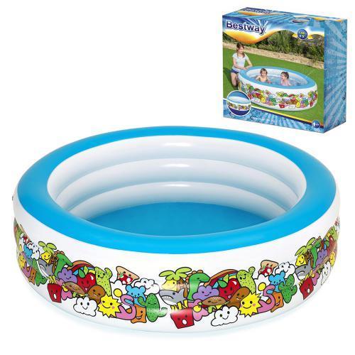 Надувний басейн для дітей з трьома кільцями Bestway 51122 (розмір 196*53 см), (об'єм 700 л) колір синій