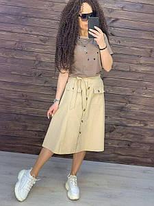 Бавовняна жіноча спідниця на літо з кишенями 42-46 (в кольорах)
