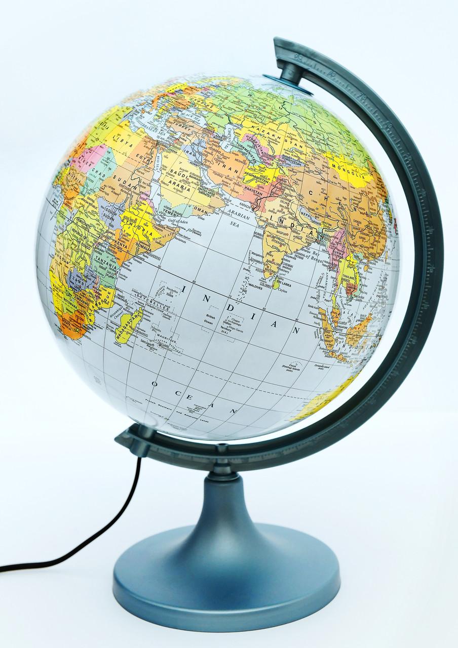 Глобус политико-физический настольный диаметр 25см GLOWALA с подсветкой, англ., яз.
