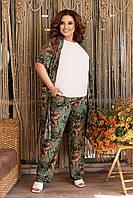 Летний брючный костюм-тройка (блуза, накидка, брюки) для полных женщин