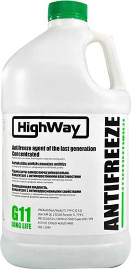 Антифриз HIGHWAY LONG LIFE G11 концентрат зелений 3,78л