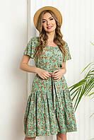 """Літнє плаття з софта вільного силуету з рукавом """"волан"""", в квітковий принт. Салатового кольору, фото 1"""