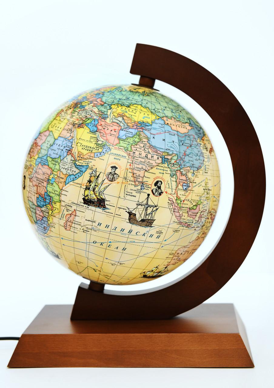 Глобус політико-фізичний Glowala 250 мм в дерев'яній оправі з підсвічуванням